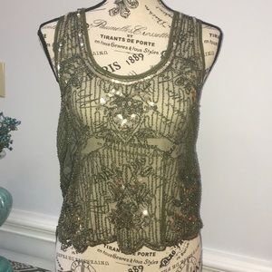 Love culture olive green lace embellished top NWT